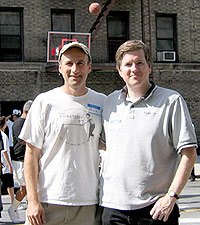 Streetplay founder Mick Greene (at left) and producer Hugh McNally at the 2003 Back to School Invitational