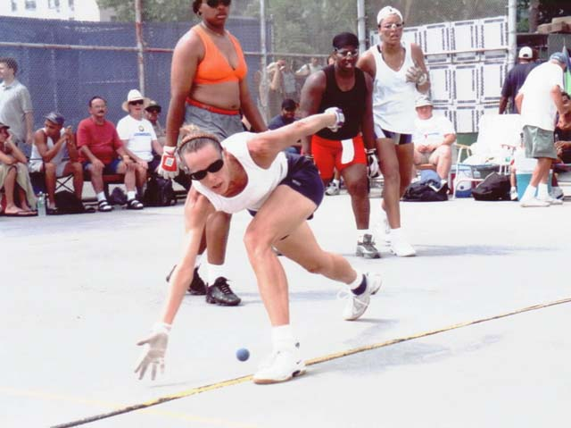 Dori about to make a great return during the 2001 Nationals Doubles match.