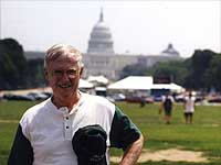 John Stephens at the Smithsonian Folklife Festival stickball game July 2001